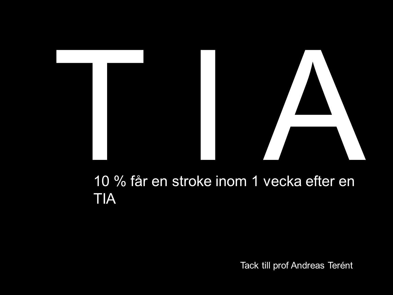 T I A Tack till prof Andreas Terént 10 % får en stroke inom 1 vecka efter en TIA