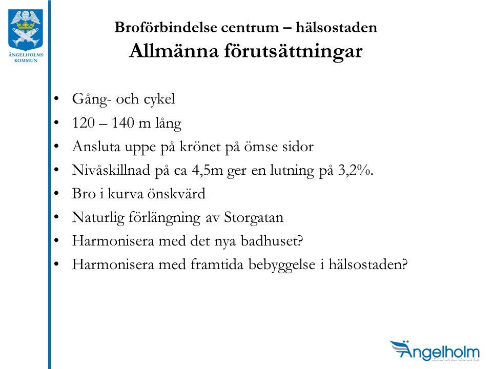 Broförbindelse centrum – hälsostaden Allmänna förutsättningar Gång- och cykel 120 – 140 m lång Ansluta uppe på krönet på ömse sidor Nivåskillnad på ca 4,5m ger en lutning på 3,2%.