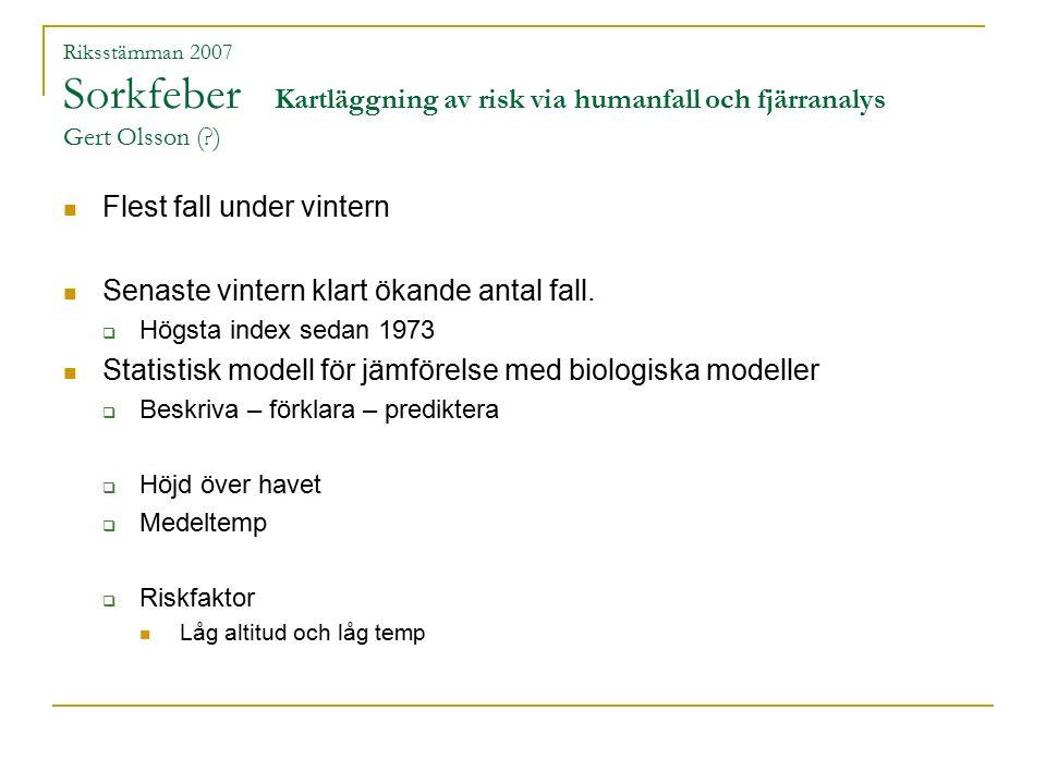 Riksstämman 2007 Sorkfeber Kartläggning av risk via humanfall och fjärranalys Gert Olsson (?) Utbredning Pumulavirus  Norrlands kustland  Mellansverige Norr om Karlstad och Uppsala Snömängd viktig faktor  Lite snö - utbrott sorkfeber.
