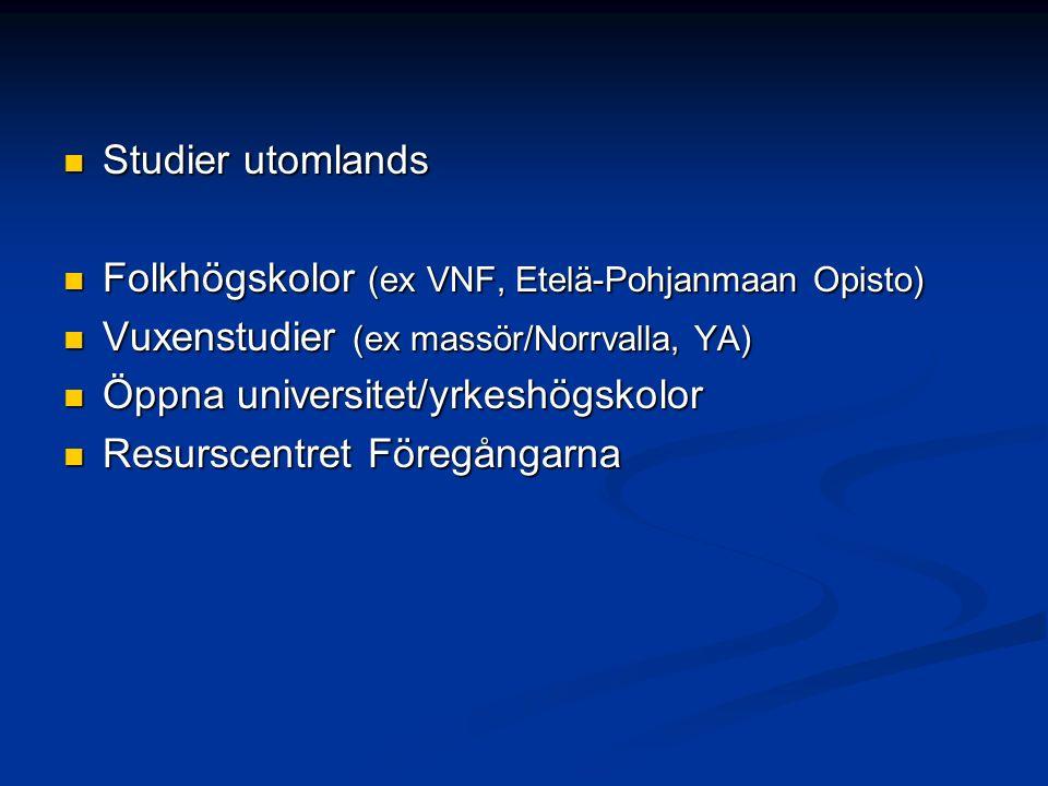 Studier utomlands Studier utomlands Folkhögskolor (ex VNF, Etelä-Pohjanmaan Opisto) Folkhögskolor (ex VNF, Etelä-Pohjanmaan Opisto) Vuxenstudier (ex massör/Norrvalla, YA) Vuxenstudier (ex massör/Norrvalla, YA) Öppna universitet/yrkeshögskolor Öppna universitet/yrkeshögskolor Resurscentret Föregångarna Resurscentret Föregångarna