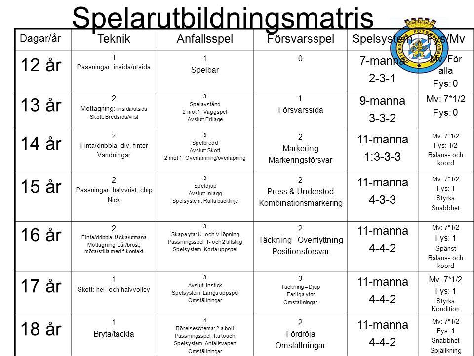 Spelarutbildningsmatris Dagar/år TeknikAnfallsspelFörsvarsspelSpelsystemFys/Mv 12 år 1 Passningar: insida/utsida 1 Spelbar 0 7-manna 2-3-1 Mv: För all