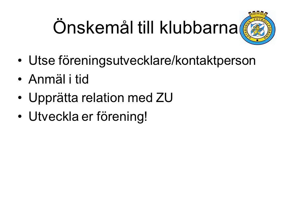 Önskemål till klubbarna Utse föreningsutvecklare/kontaktperson Anmäl i tid Upprätta relation med ZU Utveckla er förening!