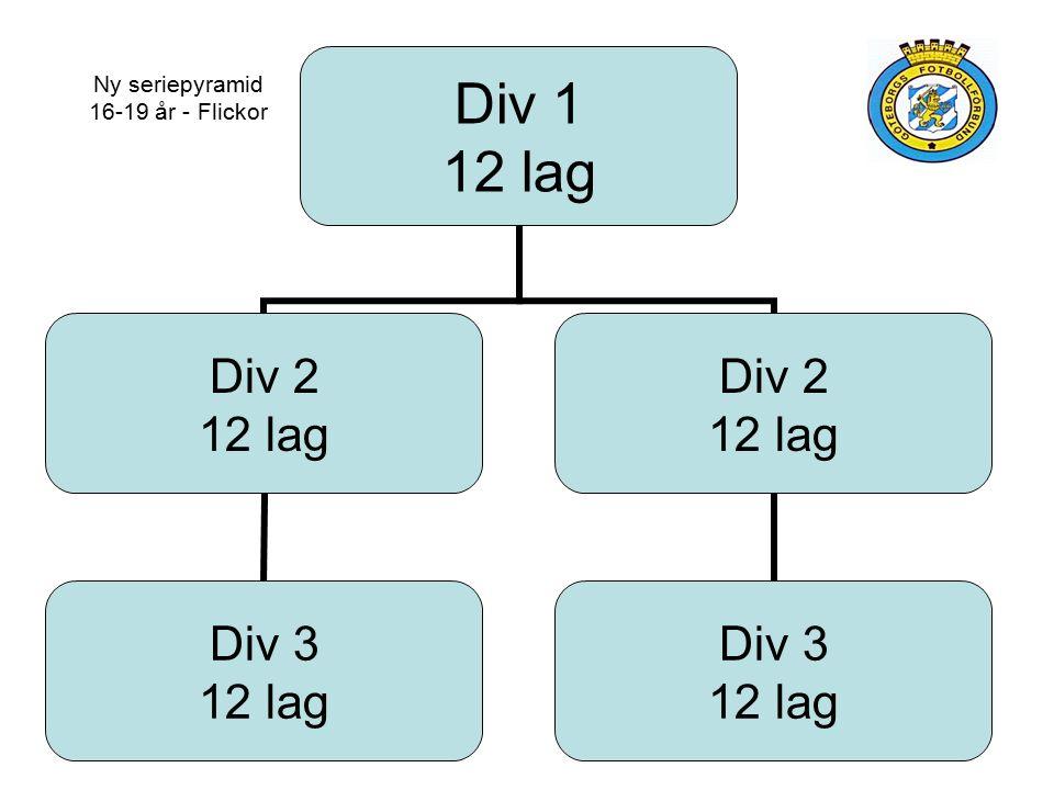 Div 1 12 lag Div 2 12 lag Div 3 12 lag Div 2 12 lag Div 3 12 lag Ny seriepyramid 16-19 år - Flickor