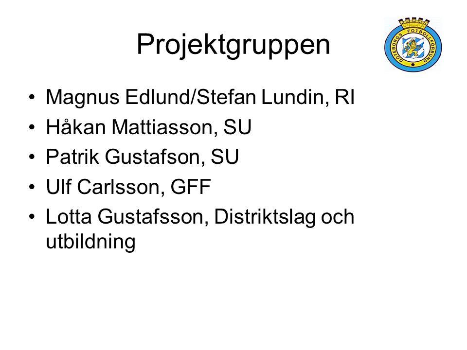 Projektgruppen Magnus Edlund/Stefan Lundin, RI Håkan Mattiasson, SU Patrik Gustafson, SU Ulf Carlsson, GFF Lotta Gustafsson, Distriktslag och utbildni