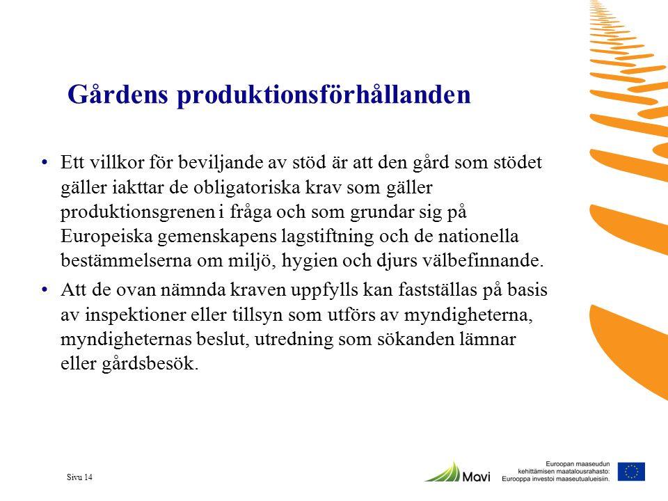 Sivu 14 Gårdens produktionsförhållanden Ett villkor för beviljande av stöd är att den gård som stödet gäller iakttar de obligatoriska krav som gäller produktionsgrenen i fråga och som grundar sig på Europeiska gemenskapens lagstiftning och de nationella bestämmelserna om miljö, hygien och djurs välbefinnande.