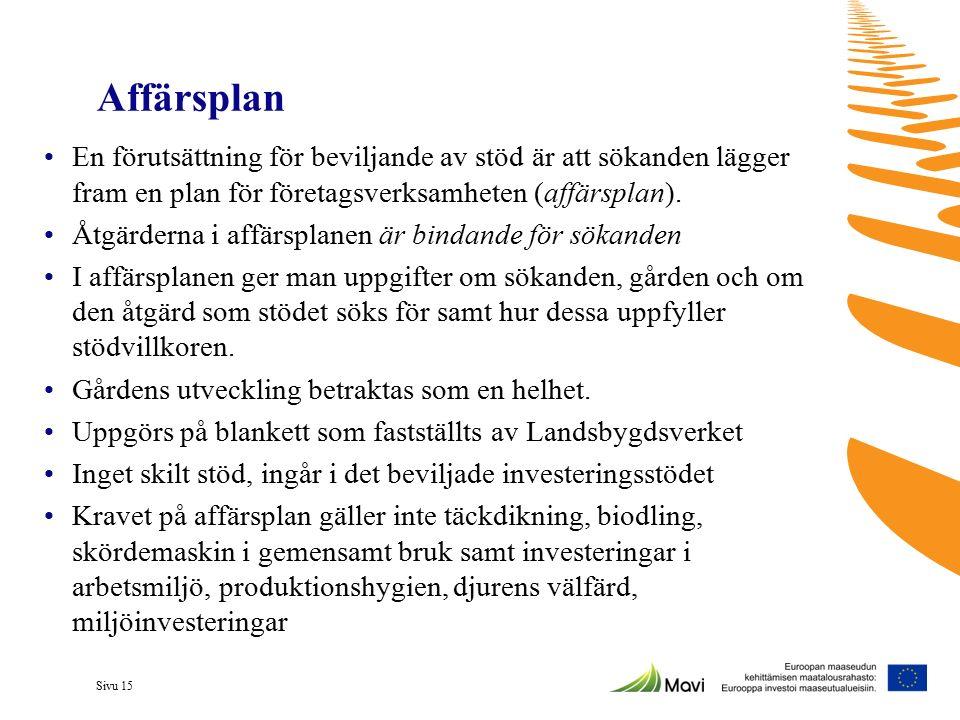 Sivu 15 Affärsplan En förutsättning för beviljande av stöd är att sökanden lägger fram en plan för företagsverksamheten (affärsplan). Åtgärderna i aff