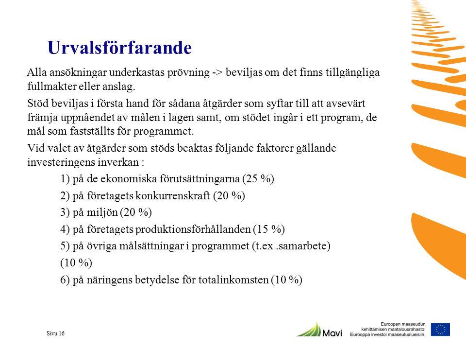 Sivu 16 Urvalsförfarande Alla ansökningar underkastas prövning -> beviljas om det finns tillgängliga fullmakter eller anslag. Stöd beviljas i första h