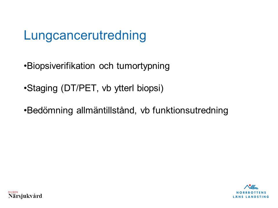 DIVISION Närsjukvård Lungcancerutredning Biopsiverifikation och tumortypning Staging (DT/PET, vb ytterl biopsi) Bedömning allmäntillstånd, vb funktionsutredning