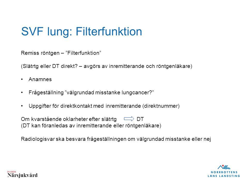 DIVISION Närsjukvård SVF lung: Filterfunktion Remiss röntgen – Filterfunktion (Slätrtg eller DT direkt.