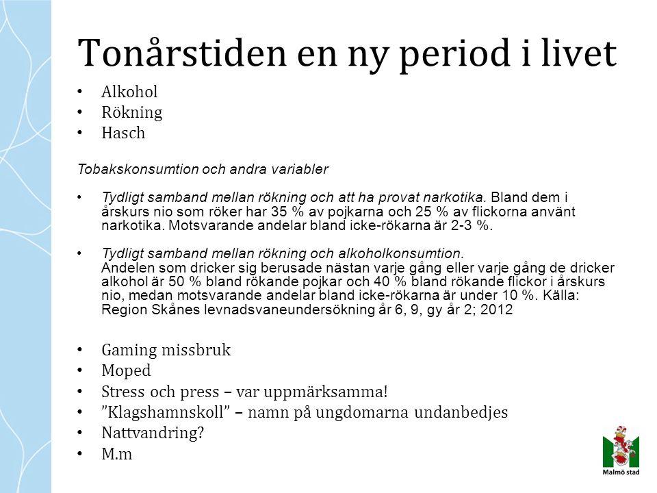 Skåne: debutålder drack minst ett glas alkohol: Pojkar 14,0 år, flickor 14,4 år, alltså kring åk 8.