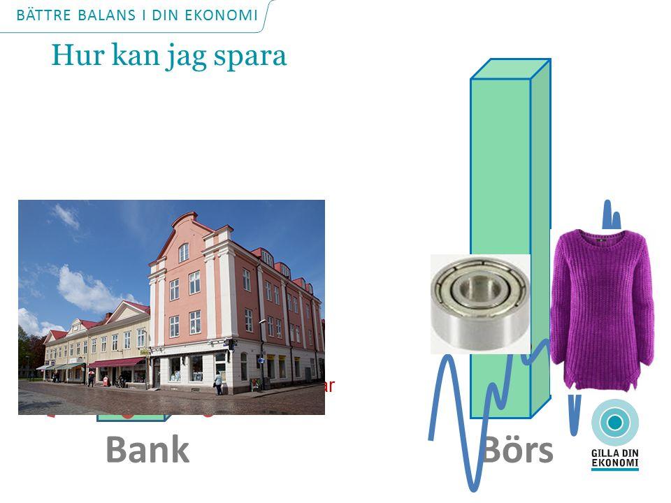 Bank Börs Styrräntan Prisökningar Min ränta 5-8%1-3% BÄTTRE BALANS I DIN EKONOMI Hur kan jag spara