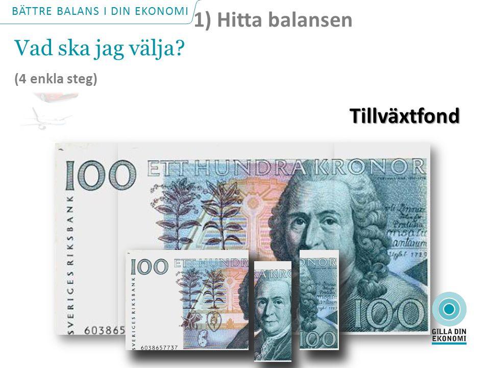 3-4 km +500 km Sparkonto Globalfond Tillväxtfond 1-2 km 3-4 år 1-2 år +5 år 1) Hitta balansen Vad ska jag välja? (4 enkla steg) Vad ska jag välja? (4