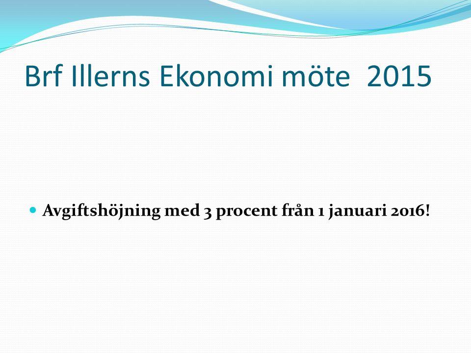 Brf Illerns Ekonomi möte 2015 Avgiftshöjning med 3 procent från 1 januari 2016!