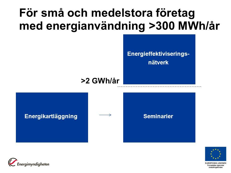 För små och medelstora företag med energianvändning >300 MWh/år Energikartläggning >2 GWh/år Seminarier Energieffektiviserings- nätverk
