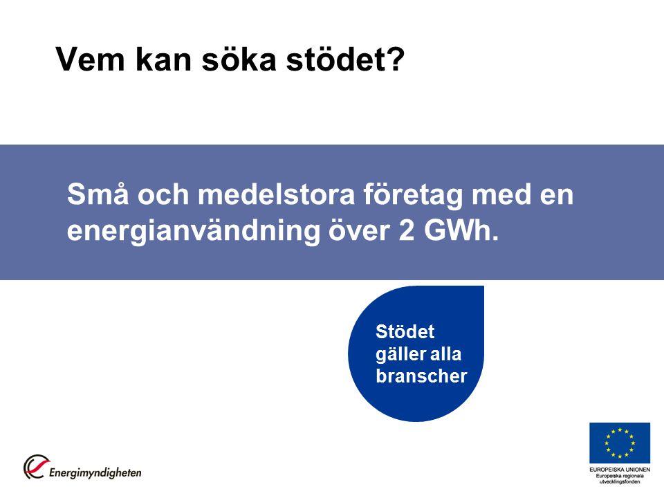 Vem kan söka stödet. Små och medelstora företag med en energianvändning över 2 GWh.