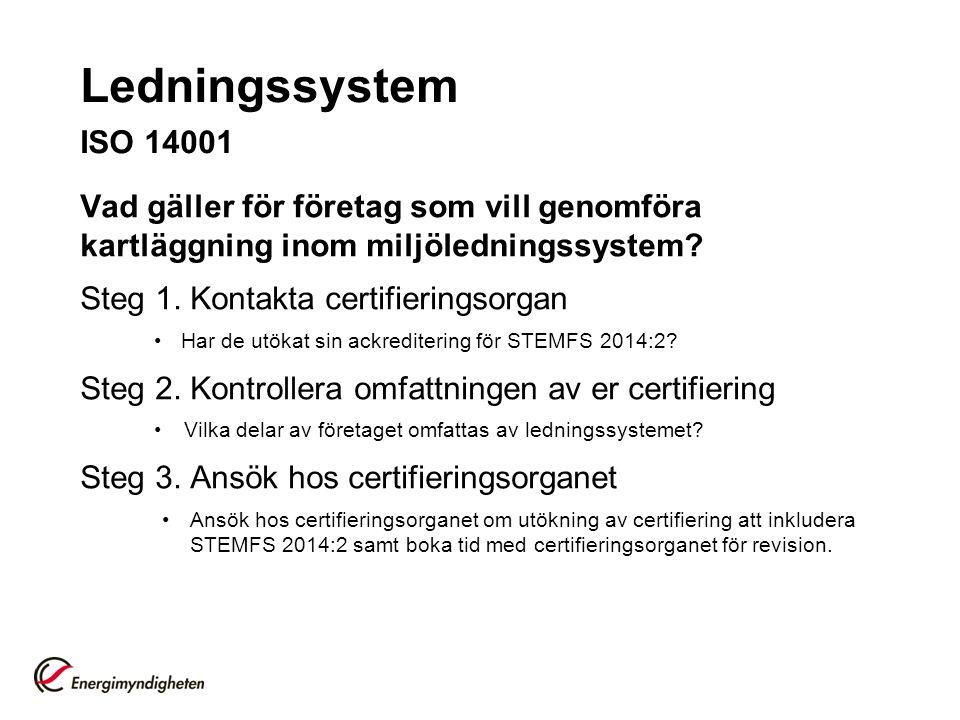 Ledningssystem ISO 14001 Vad gäller för företag som vill genomföra kartläggning inom miljöledningssystem.