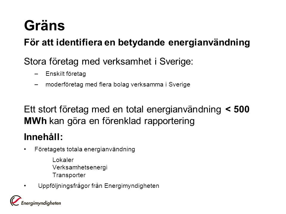 Gräns För att identifiera en betydande energianvändning Stora företag med verksamhet i Sverige: –Enskilt företag –moderföretag med flera bolag verksamma i Sverige Ett stort företag med en total energianvändning < 500 MWh kan göra en förenklad rapportering Innehåll: Företagets totala energianvändning Lokaler Verksamhetsenergi Transporter Uppföljningsfrågor från Energimyndigheten