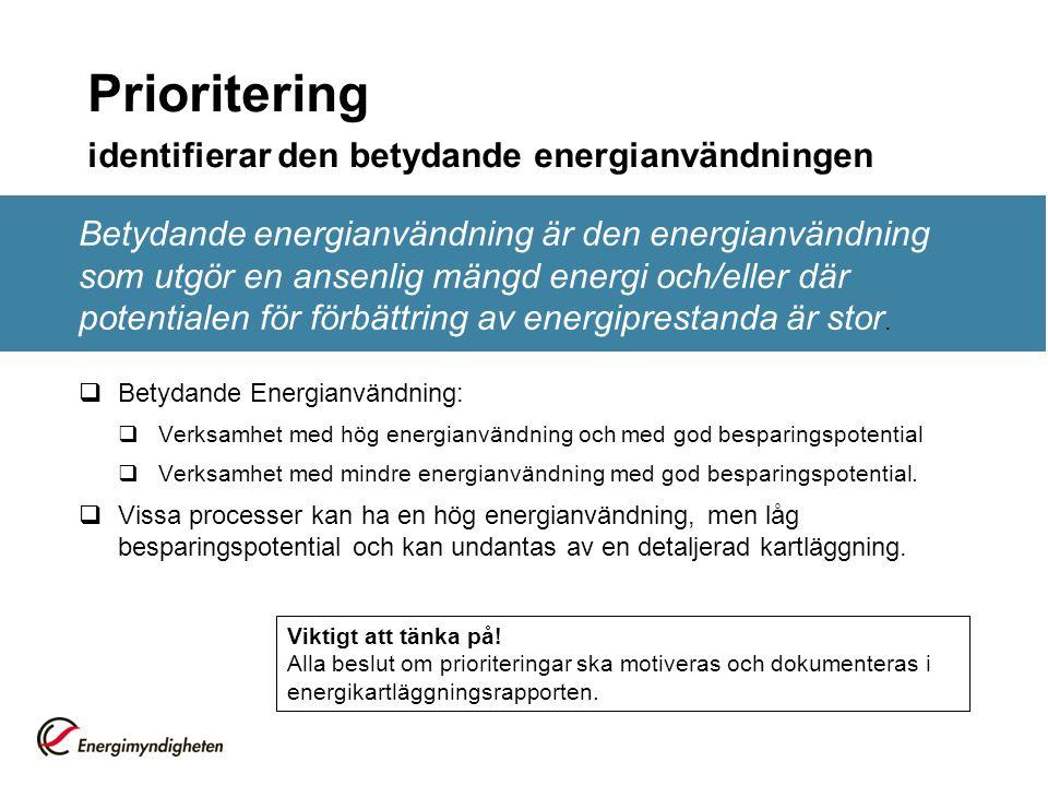 Prioritering identifierar den betydande energianvändningen Betydande energianvändning är den energianvändning som utgör en ansenlig mängd energi och/eller där potentialen för förbättring av energiprestanda är stor.