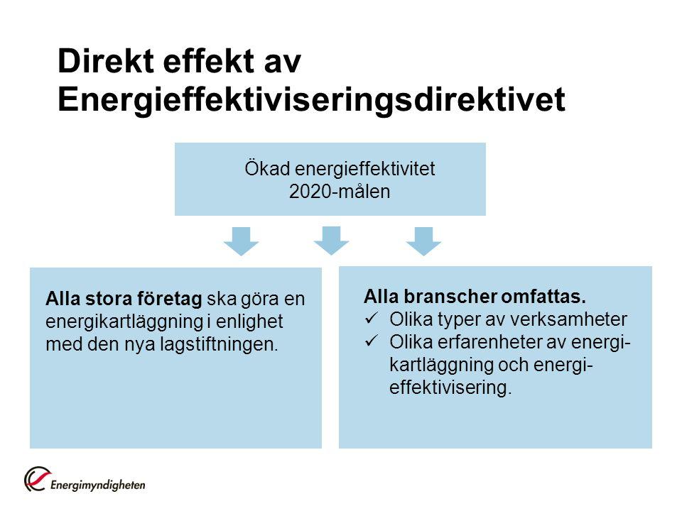Direkt effekt av Energieffektiviseringsdirektivet Ökad energieffektivitet 2020-målen Alla stora företag ska göra en energikartläggning i enlighet med den nya lagstiftningen.