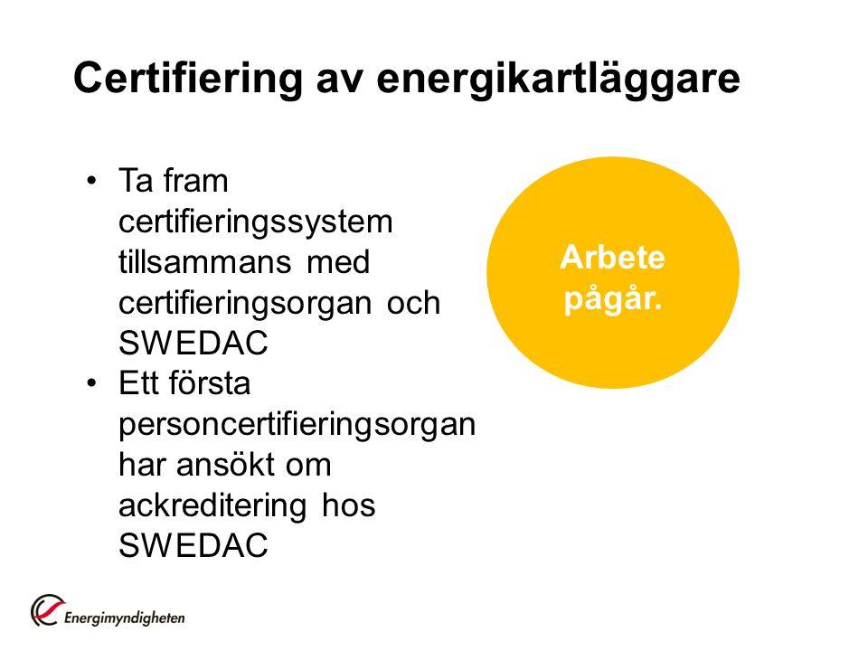 Certifiering av energikartläggare Ta fram certifieringssystem tillsammans med certifieringsorgan och SWEDAC Ett första personcertifieringsorgan har ansökt om ackreditering hos SWEDAC Arbete pågår.