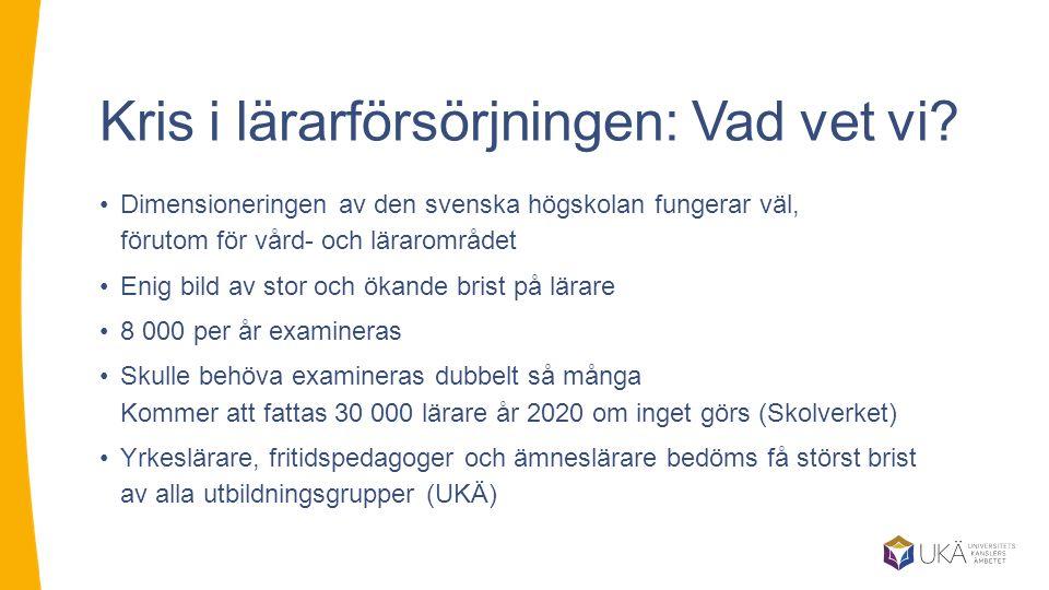Kris i lärarförsörjningen: Vad vet vi? Dimensioneringen av den svenska högskolan fungerar väl, förutom för vård- och lärarområdet Enig bild av stor oc