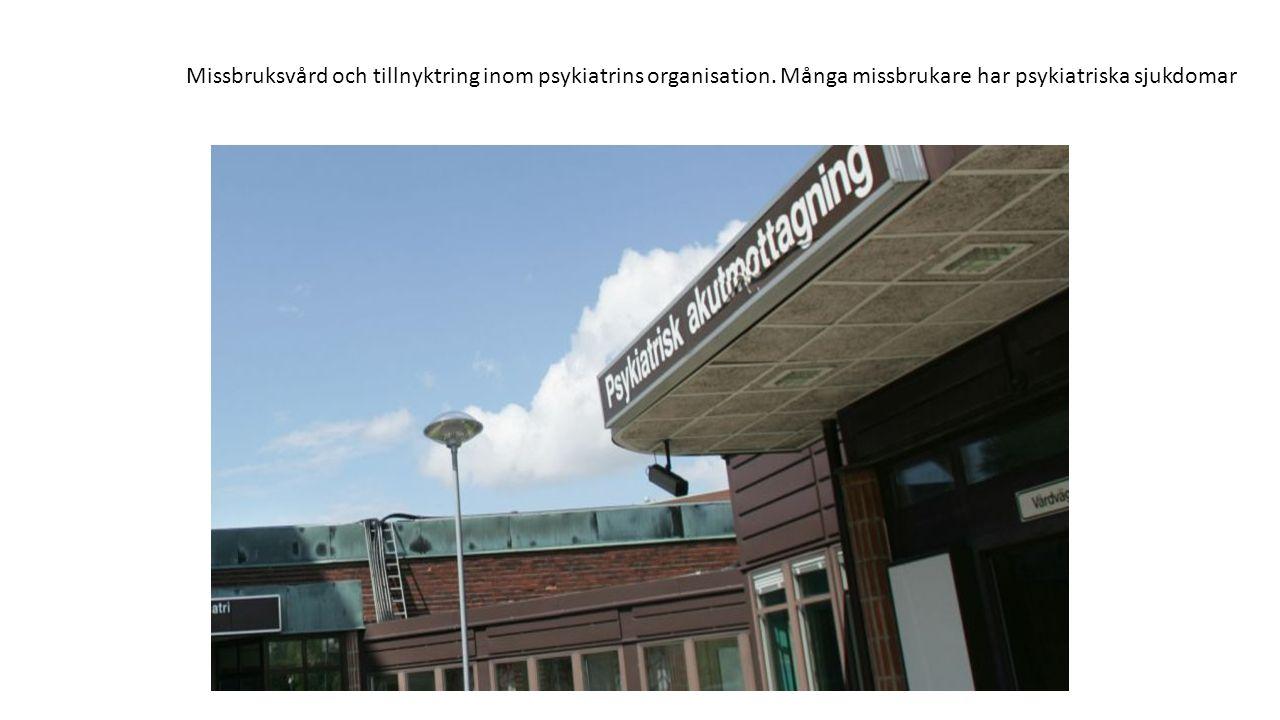Missbruksvård och tillnyktring inom psykiatrins organisation. Många missbrukare har psykiatriska sjukdomar