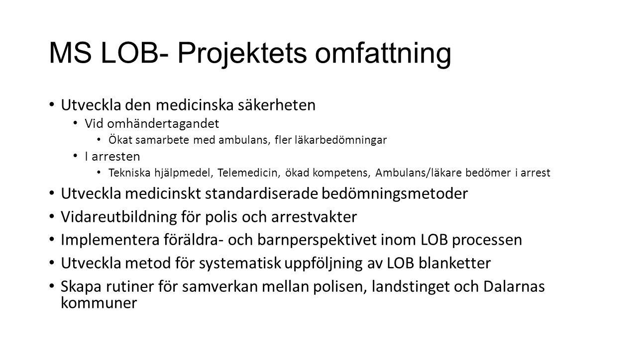 MS LOB- Projektets omfattning Utveckla den medicinska säkerheten Vid omhändertagandet Ökat samarbete med ambulans, fler läkarbedömningar I arresten Te