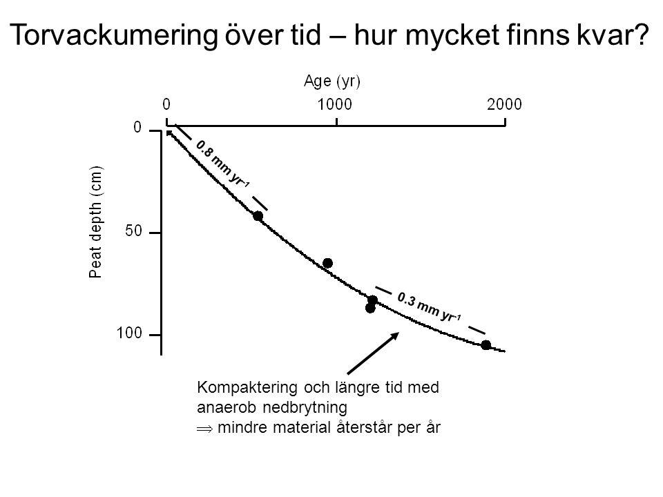 0.3 mm yr -1 0.8 mm yr -1 Torvackumering över tid – hur mycket finns kvar.