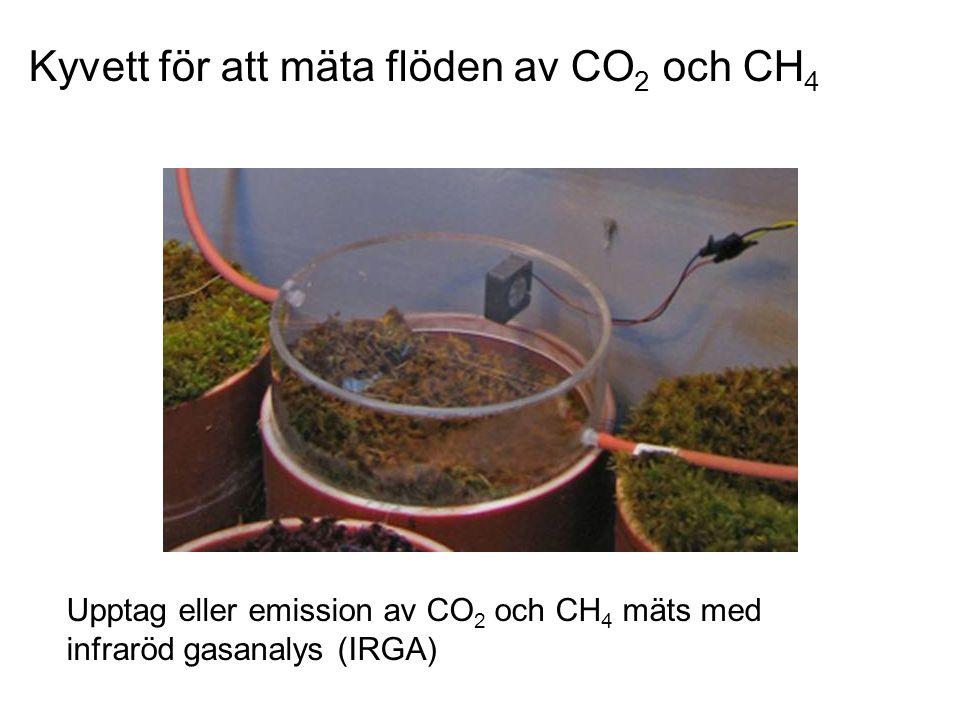 Kyvett för att mäta flöden av CO 2 och CH 4 Upptag eller emission av CO 2 och CH 4 mäts med infraröd gasanalys (IRGA)