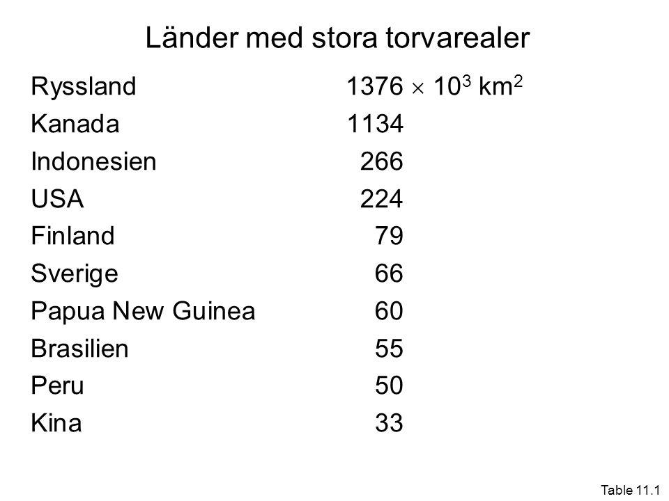 Länder med stora torvarealer Ryssland1376  10 3 km 2 Kanada1134 Indonesien266 USA224 Finland79 Sverige66 Papua New Guinea60 Brasilien55 Peru50 Kina33 Table 11.1