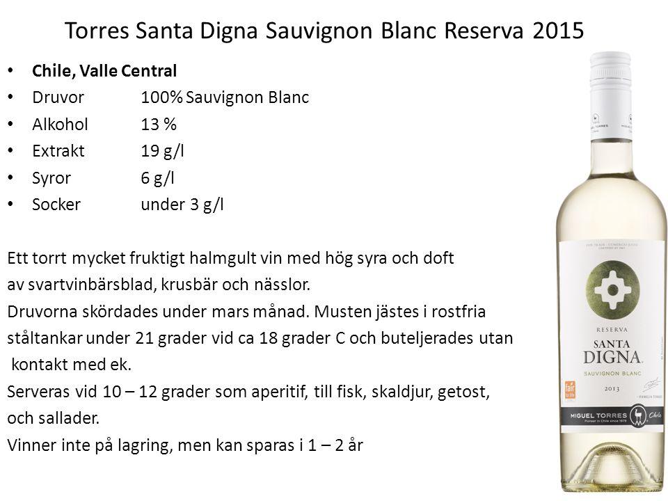 Torres Santa Digna Sauvignon Blanc Reserva 2015 Chile, Valle Central Druvor100% Sauvignon Blanc Alkohol13 % Extrakt19 g/l Syror6 g/l Socker under 3 g/l Ett torrt mycket fruktigt halmgult vin med hög syra och doft av svartvinbärsblad, krusbär och nässlor.
