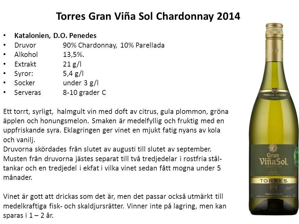 Torres Gran Viña Sol Chardonnay 2014 Katalonien, D.O. Penedes Druvor90% Chardonnay, 10% Parellada Alkohol13,5%. Extrakt21 g/l Syror:5,4 g/l Sockerunde