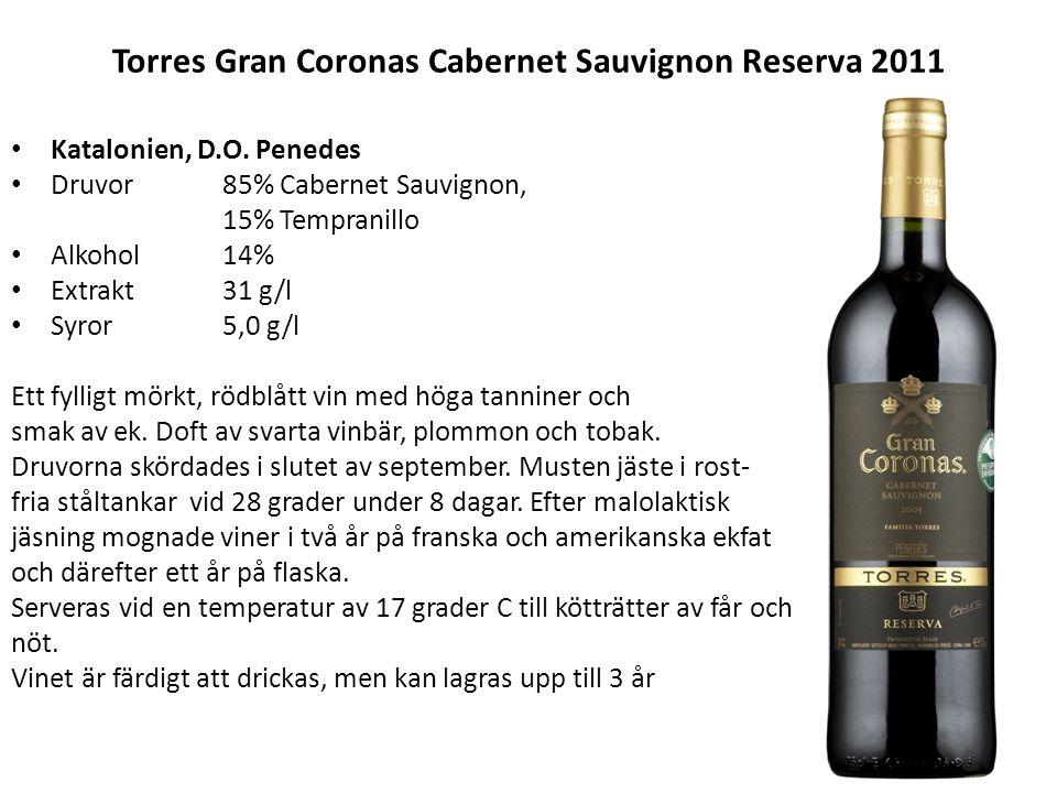 Torres Gran Coronas Cabernet Sauvignon Reserva 2011 Katalonien, D.O. Penedes Druvor 85% Cabernet Sauvignon, 15% Tempranillo Alkohol14% Extrakt31 g/l S