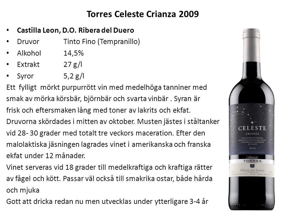 Torres Celeste Crianza 2009 Castilla Leon, D.O. Ribera del Duero DruvorTinto Fino (Tempranillo) Alkohol14,5% Extrakt27 g/l Syror5,2 g/l Ett fylligt mö