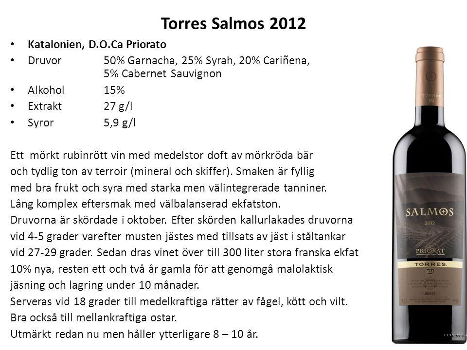 Torres Salmos 2012 Katalonien, D.O.Ca Priorato Druvor50% Garnacha, 25% Syrah, 20% Cariñena, 5% Cabernet Sauvignon Alkohol15% Extrakt27 g/l Syror 5,9 g
