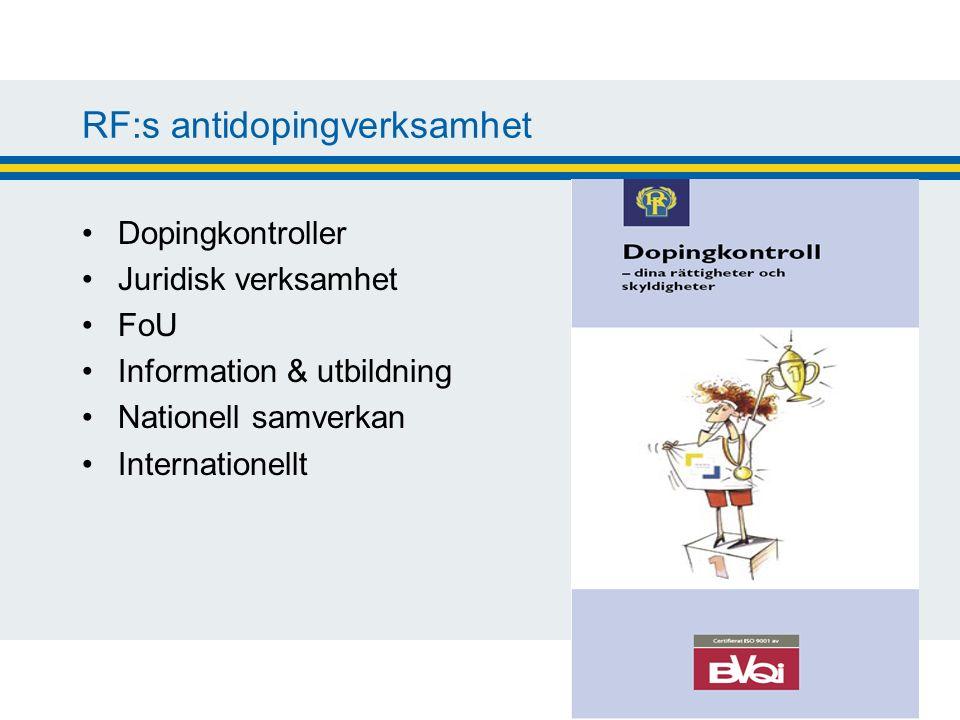 RF:s antidopingverksamhet Dopingkontroller Juridisk verksamhet FoU Information & utbildning Nationell samverkan Internationellt