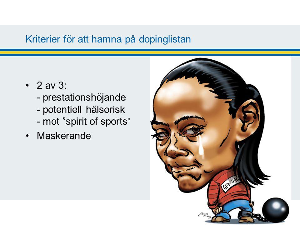 Kriterier för att hamna på dopinglistan 2 av 3: - prestationshöjande - potentiell hälsorisk - mot spirit of sports Maskerande