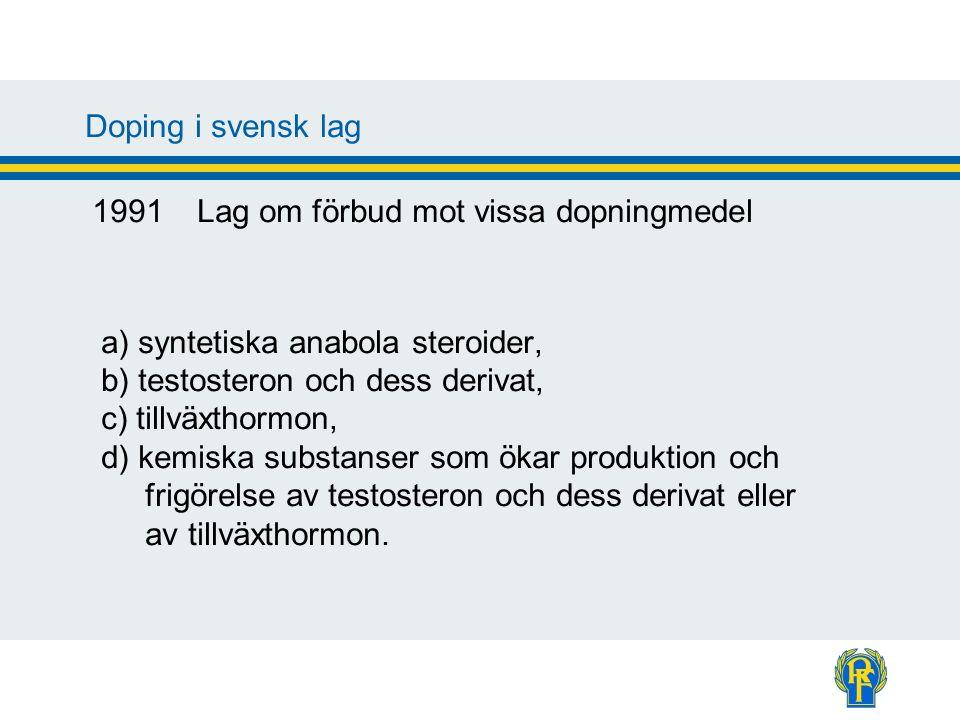 Doping i svensk lag Förbjudet att 1.införa till landet 2.