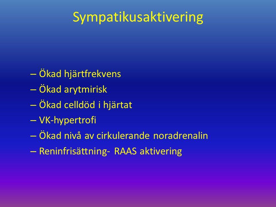 Sympatikusaktivering – Ökad hjärtfrekvens – Ökad arytmirisk – Ökad celldöd i hjärtat – VK-hypertrofi – Ökad nivå av cirkulerande noradrenalin – Reninfrisättning- RAAS aktivering