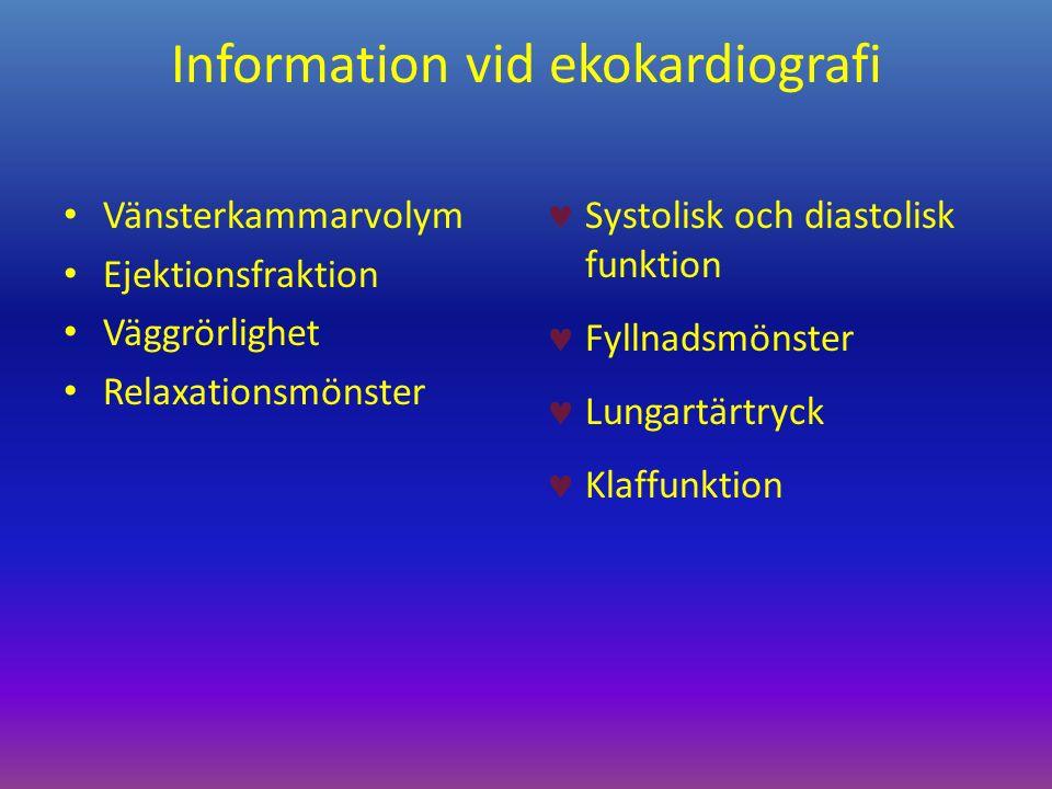 Information vid ekokardiografi Vänsterkammarvolym Ejektionsfraktion Väggrörlighet Relaxationsmönster Systolisk och diastolisk funktion Fyllnadsmönster Lungartärtryck Klaffunktion