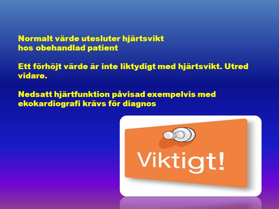 Normalt värde utesluter hjärtsvikt hos obehandlad patient Ett förhöjt värde är inte liktydigt med hjärtsvikt.