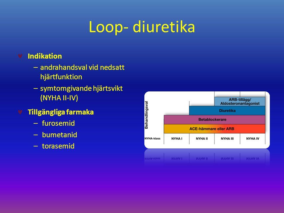 Loop- diuretika Indikation –andrahandsval vid nedsatt hjärtfunktion –symtomgivande hjärtsvikt (NYHA II-IV) Tillgängliga farmaka – furosemid – bumetanid – torasemid