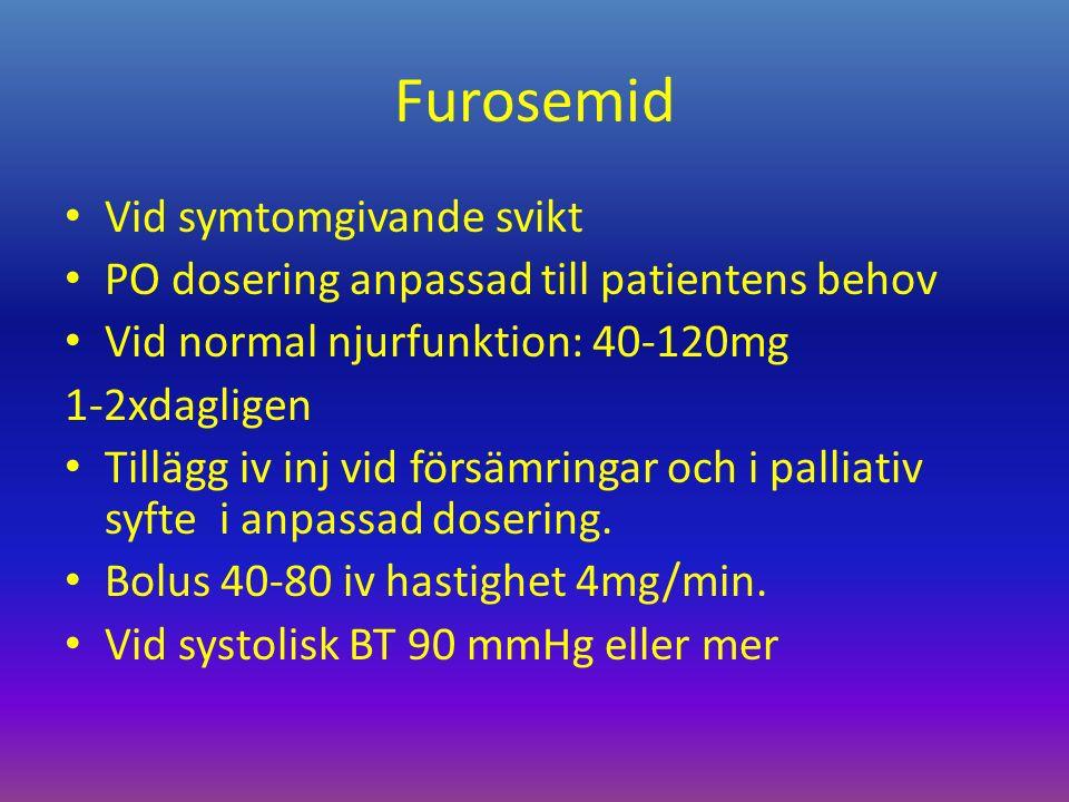 Furosemid Vid symtomgivande svikt PO dosering anpassad till patientens behov Vid normal njurfunktion: 40-120mg 1-2xdagligen Tillägg iv inj vid försämringar och i palliativ syfte i anpassad dosering.