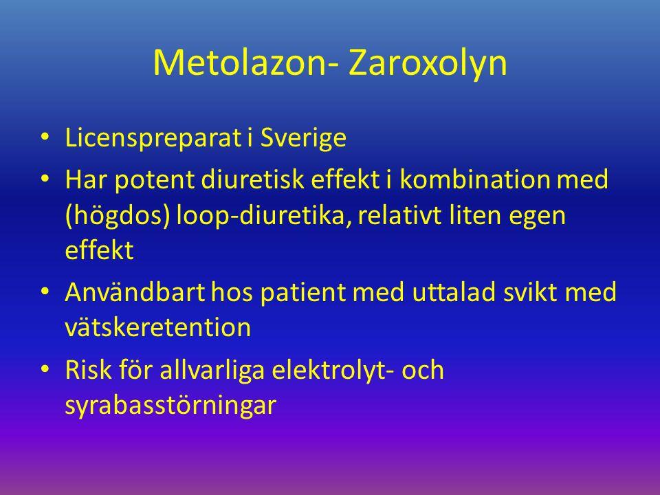 Metolazon- Zaroxolyn Licenspreparat i Sverige Har potent diuretisk effekt i kombination med (högdos) loop-diuretika, relativt liten egen effekt Användbart hos patient med uttalad svikt med vätskeretention Risk för allvarliga elektrolyt- och syrabasstörningar