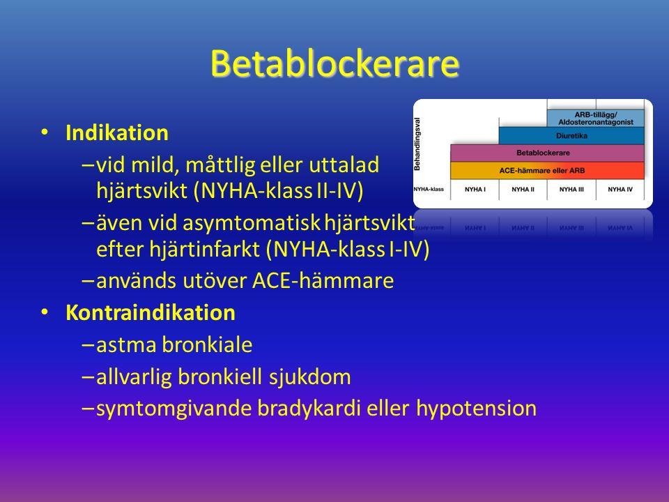 Betablockerare Indikation –vid mild, måttlig eller uttalad hjärtsvikt (NYHA-klass II-IV) –även vid asymtomatisk hjärtsvikt efter hjärtinfarkt (NYHA-klass I-IV) –används utöver ACE-hämmare Kontraindikation –astma bronkiale –allvarlig bronkiell sjukdom –symtomgivande bradykardi eller hypotension