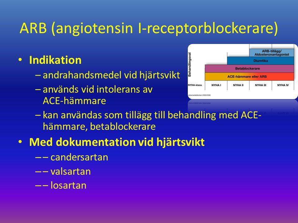 ARB (angiotensin I-receptorblockerare) Indikation –andrahandsmedel vid hjärtsvikt –används vid intolerans av ACE-hämmare –kan användas som tillägg till behandling med ACE- hämmare, betablockerare Med dokumentation vid hjärtsvikt – – candersartan – – valsartan – – losartan