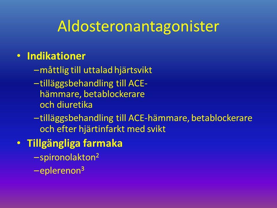Aldosteronantagonister Indikationer –måttlig till uttalad hjärtsvikt –tilläggsbehandling till ACE- hämmare, betablockerare och diuretika –tilläggsbehandling till ACE-hämmare, betablockerare och efter hjärtinfarkt med svikt Tillgängliga farmaka –spironolakton 2 –eplerenon 3