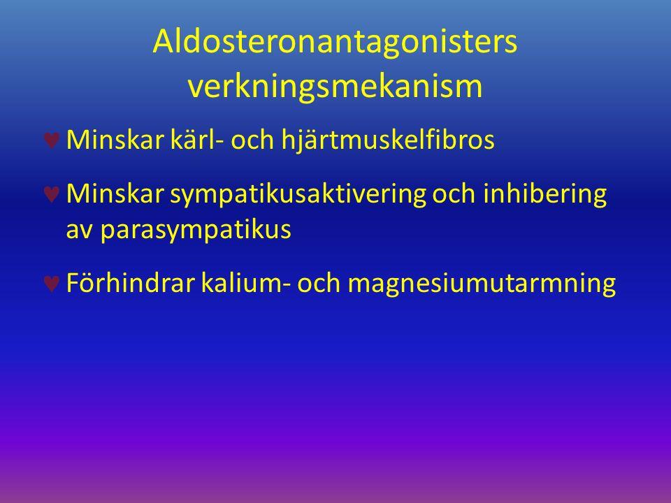 Aldosteronantagonisters verkningsmekanism Minskar kärl- och hjärtmuskelfibros Minskar sympatikusaktivering och inhibering av parasympatikus Förhindrar kalium- och magnesiumutarmning