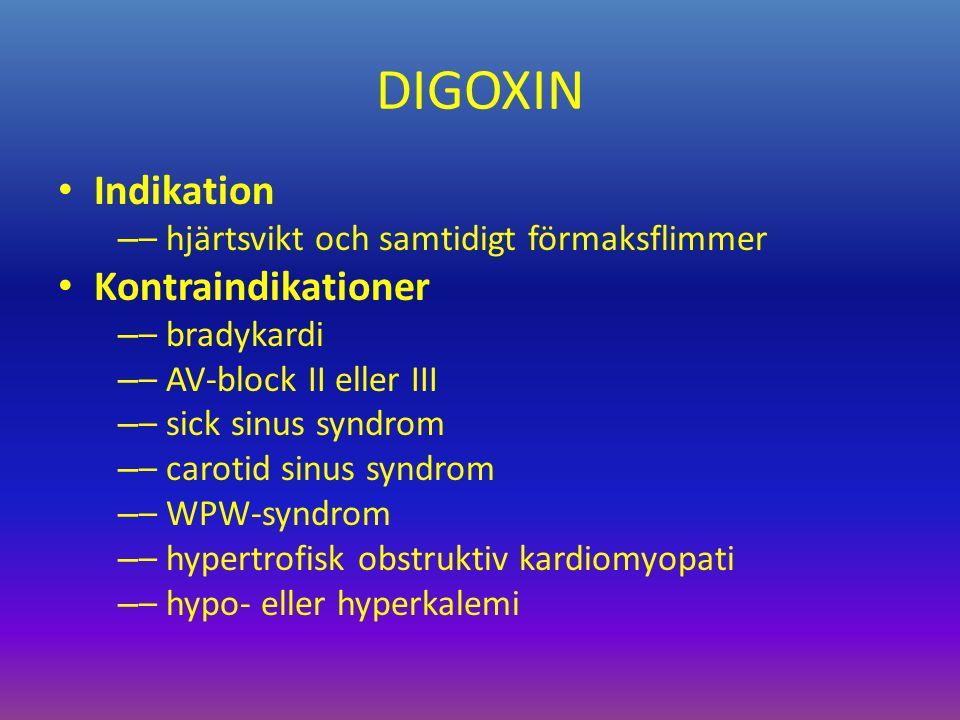 DIGOXIN Indikation – – hjärtsvikt och samtidigt förmaksflimmer Kontraindikationer – – bradykardi – – AV-block II eller III – – sick sinus syndrom – – carotid sinus syndrom – – WPW-syndrom – – hypertrofisk obstruktiv kardiomyopati – – hypo- eller hyperkalemi