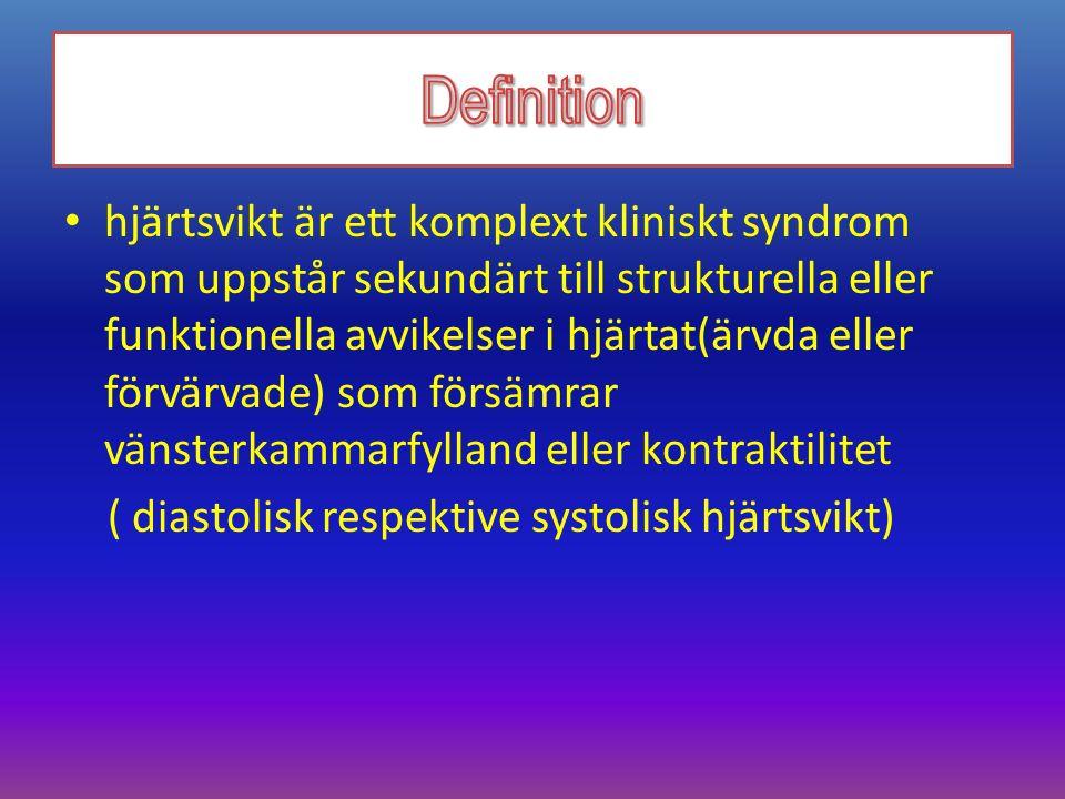 Kronisk hjärtsvikt – symtombild Specifika symtom Ödem – – perifert – – viktuppgång Trötthet Andfåddhet Hosta (nattlig hosta) Nykturi Ospecifika symtom Aptitlöshet Kakexi (svår hjärtsvikt är ett svälttillstånd) Illamående Diarré – obstipation Yrsel